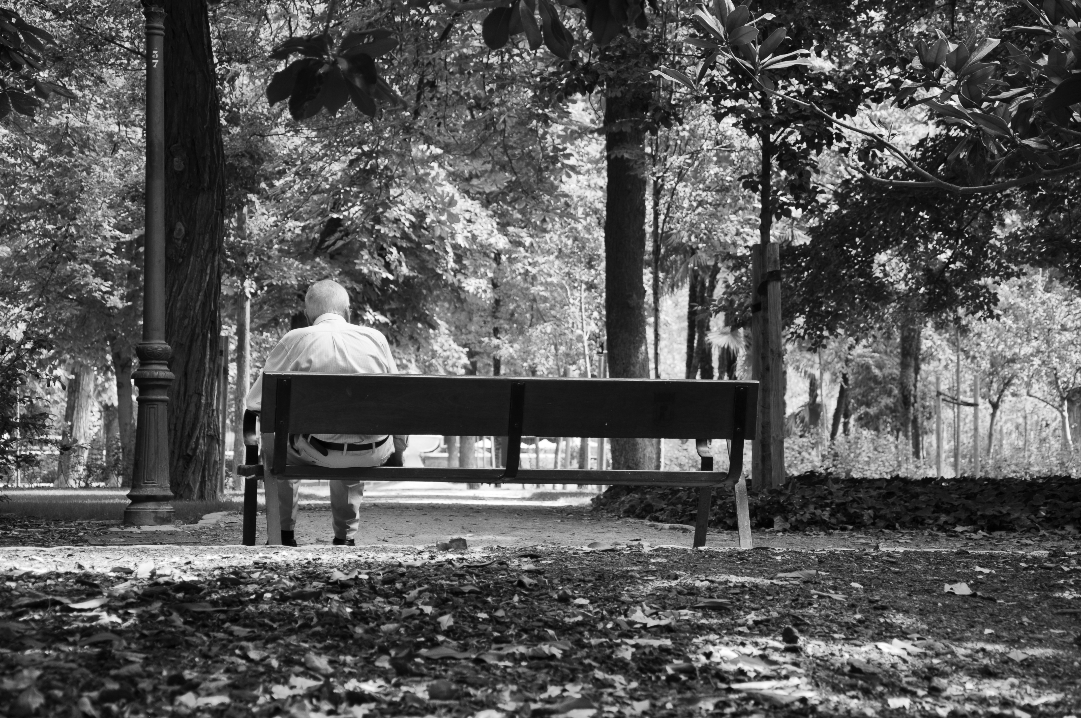 man sat alone in park