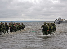 100615-M-0884D-033 LOSKA, Estonia (June 15, 2010) Estonian soldiers wade ashore during a combined U.S. and Estonia amphibious assault training exercise during Baltic Operations (BALTOPS) 2010. BALTOPS is an annual exercise to improve interoperability and cooperation among regional allies by conducting realistic training with the 12 participating nations. (U.S. Marine Corps photo by Sgt. Rocco DeFilippis/Released)