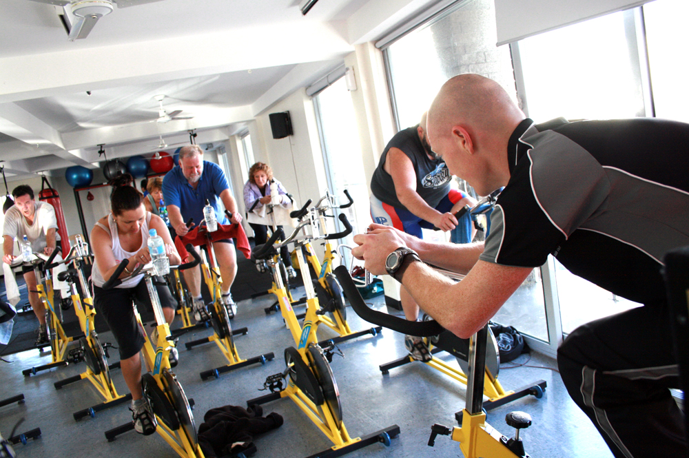 cycling class at gym